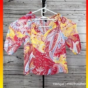 Chaps Women's Paisley Design XL Blouse red yellow